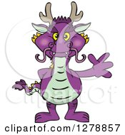 Purple Dragon Standing And Waving