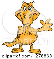 Clipart Of A Happy Goanna Lizard Waving Royalty Free Vector Illustration by Dennis Holmes Designs