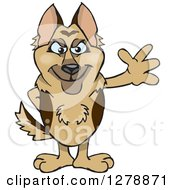 Clipart Of A German Shepherd Dog Standing And Waving Royalty Free Vector Illustration