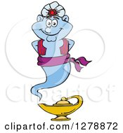 Clipart Of A Happy Genie Floating Over A Lamp Royalty Free Vector Illustration by Dennis Holmes Designs