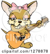 Poster, Art Print Of Happy Female Chihuahua Dog Playing An Acoustic Guitar
