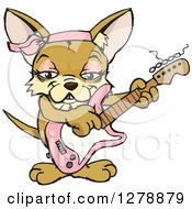 Poster, Art Print Of Happy Female Chihuahua Dog Playing A Pink Electric Guitar