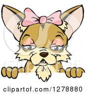 Clipart Of A Happy Tan Female Chihuahua Dog Peeking Over A Sign Royalty Free Vector Illustration