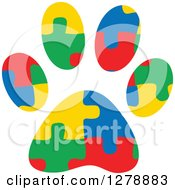 Clipart Of A Colorful Jigsaw Puzzle Aspergers Autism Service Dog Paw Print Royalty Free Vector Illustration