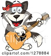 Clipart Of A Happy Border Collie Dog Playing An Acoustic Guitar Royalty Free Vector Illustration by Dennis Holmes Designs