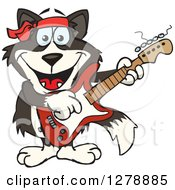 Clipart Of A Happy Border Collie Dog Playing An Electric Guitar Royalty Free Vector Illustration by Dennis Holmes Designs