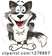 Clipart Of A Happy Border Collie Standing With His Hands Behind His Back Royalty Free Vector Illustration by Dennis Holmes Designs