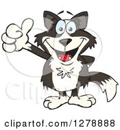 Clipart Of A Happy Border Collie Holding A Thumb Up Royalty Free Vector Illustration by Dennis Holmes Designs