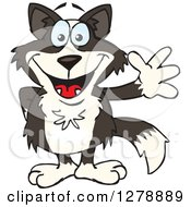 Clipart Of A Friendly Waving Border Collie Royalty Free Vector Illustration