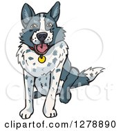 Clipart Of A Happy Sitting Border Collie Dog Royalty Free Vector Illustration by Dennis Holmes Designs