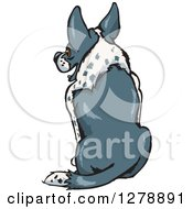 Clipart Of A Rear View Of A Sitting Border Collie Dog Royalty Free Vector Illustration by Dennis Holmes Designs