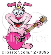 Clipart Of A Happy Pink Dog Playing An Acoustic Guitar Royalty Free Vector Illustration