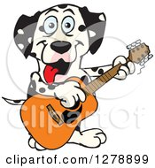 Clipart Of A Happy Dalmatian Dog Playing An Acoustic Guitar Royalty Free Vector Illustration by Dennis Holmes Designs