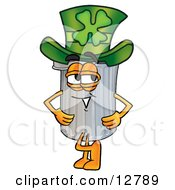 Clipart Picture Of A Garbage Can Mascot Cartoon Character Wearing A Saint Patricks Day Hat With A Clover On It by Toons4Biz