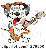 Clipart Of A Happy Dalmatian Dog Playing An Electric Guitar Royalty Free Vector Illustration by Dennis Holmes Designs