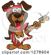 Clipart Of A Happy Dachshund Dog Playing An Electric Guitar Royalty Free Vector Illustration