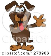 Clipart Of A Happy Dachshund Dog Standing And Waving Royalty Free Vector Illustration