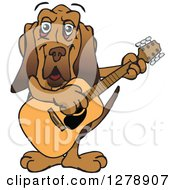 Clipart Of A Happy Bloodhound Dog Playing An Acoustic Guitar Royalty Free Vector Illustration