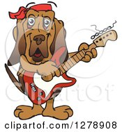Clipart Of A Happy Bloodhound Dog Playing An Electric Guitar Royalty Free Vector Illustration