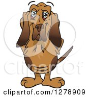 Clipart Of A Happy Bloodhound Dog Standing Royalty Free Vector Illustration