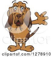 Clipart Of A Friendly Waving Bloodhound Dog Royalty Free Vector Illustration