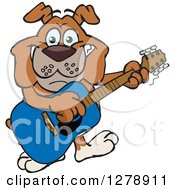 Clipart Of A Happy Bulldog Dog Playing An Acoustic Guitar Royalty Free Vector Illustration by Dennis Holmes Designs