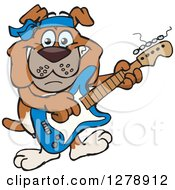 Clipart Of A Happy Bulldog Dog Playing An Electric Guitar Royalty Free Vector Illustration by Dennis Holmes Designs
