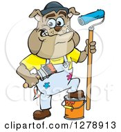 Happy Brown Bulldog Painter Holding Brushes And Resting A Foot On A Bucket