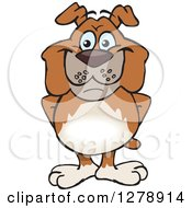 Clipart Of A Happy Brown Bulldog Standing Royalty Free Vector Illustration by Dennis Holmes Designs