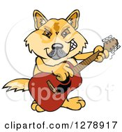Clipart Of A Happy Dingo Playing An Acoustic Guitar Royalty Free Vector Illustration by Dennis Holmes Designs