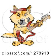 Clipart Of A Happy Dingo Playing An Electric Guitar Royalty Free Vector Illustration