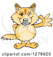 Clipart Of A Dingo Waving Royalty Free Vector Illustration