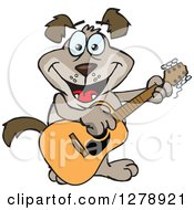 Clipart Of A Happy Brown Dog Playing An Acoustic Guitar Royalty Free Vector Illustration
