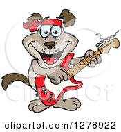 Clipart Of A Happy Brown Dog Playing An Electric Guitar Royalty Free Vector Illustration