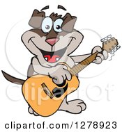 Clipart Of A Happy Two Toned Brown Dog Playing An Acoustic Guitar Royalty Free Vector Illustration