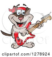 Clipart Of A Happy Two Toned Brown Dog Playing An Electric Guitar Royalty Free Vector Illustration