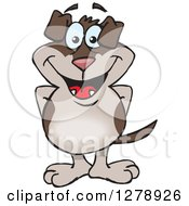 Clipart Of A Happy Two Toned Brown Dog Standing Royalty Free Vector Illustration by Dennis Holmes Designs