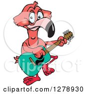 Clipart Of A Happy Pink Flamingo Playing An Acoustic Guitar Royalty Free Vector Illustration by Dennis Holmes Designs