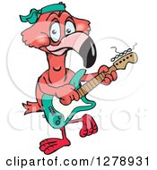 Clipart Of A Happy Pink Flamingo Playing An Electric Guitar Royalty Free Vector Illustration by Dennis Holmes Designs