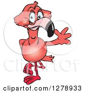 Clipart Of A Happy Pink Flamingo Bird Waving Royalty Free Vector Illustration