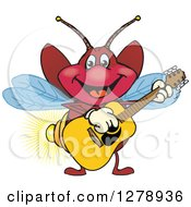 Clipart Of A Happy Firefly Playing An Acoustic Guitar Royalty Free Vector Illustration by Dennis Holmes Designs
