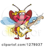 Clipart Of A Happy Firefly Playing An Electric Guitar Royalty Free Vector Illustration by Dennis Holmes Designs