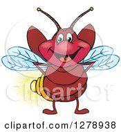 Clipart Of A Happy Firefly Royalty Free Vector Illustration by Dennis Holmes Designs