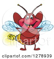 Clipart Of A Happy Firefly With A Light Bulb Butt Royalty Free Vector Illustration by Dennis Holmes Designs
