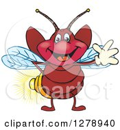 Clipart Of A Happy Firefly Waving Royalty Free Vector Illustration by Dennis Holmes Designs
