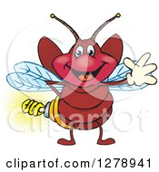Clipart Of A Happy Waving Firefly With A Light Bulb Butt Royalty Free Vector Illustration by Dennis Holmes Designs