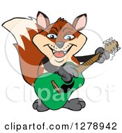 Clipart Of A Happy Fox Playing An Acoustic Guitar Royalty Free Vector Illustration by Dennis Holmes Designs