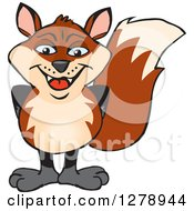 Clipart Of A Happy Fox Standing Royalty Free Vector Illustration by Dennis Holmes Designs