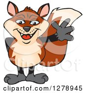 Clipart Of A Happy Fox Waving Royalty Free Vector Illustration by Dennis Holmes Designs