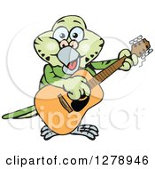 Clipart Of A Happy Green Budgie Parakeet Bird Playing An Acoustic Guitar Royalty Free Vector Illustration by Dennis Holmes Designs